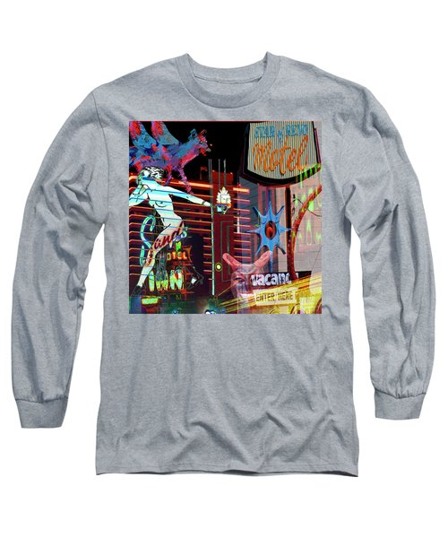 Motel Variations Night Of The Flyng Coyote Long Sleeve T-Shirt by Ann Tracy