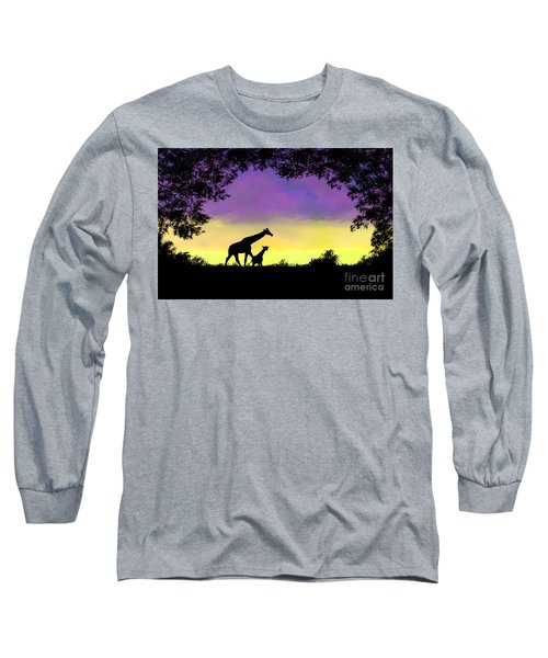 Mother And Baby Giraffe At Sunset Long Sleeve T-Shirt