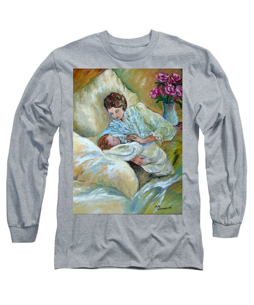 Mother And Child By May Villeneuve Long Sleeve T-Shirt by Susan Lafleur for May Villeneuve