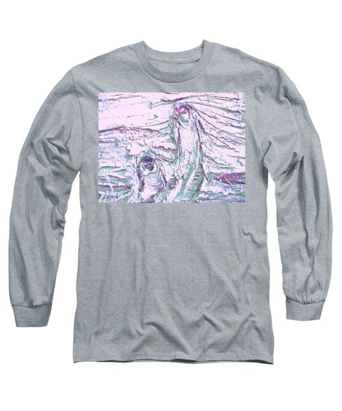 Mother And Daughter Against The Wind Long Sleeve T-Shirt by Karl Reid