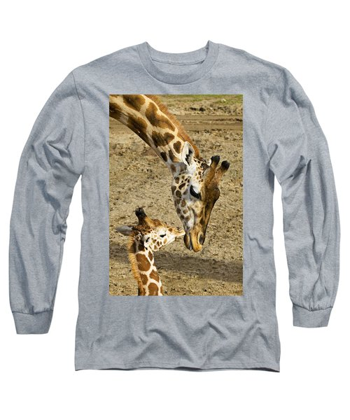 Mother Giraffe With Her Baby Long Sleeve T-Shirt