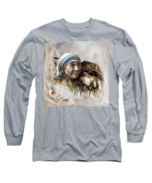 Long Sleeve T-Shirt featuring the painting Mother Teresa  by Gull G