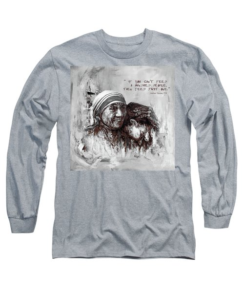 Long Sleeve T-Shirt featuring the painting Mother Teresa Of Calcutta Portrait  by Gull G