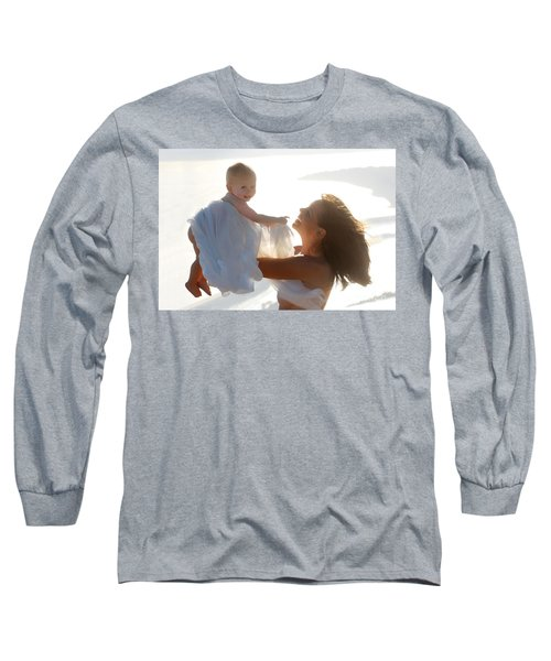 Mother With Baby In Pure Joy, Marin County, California Long Sleeve T-Shirt