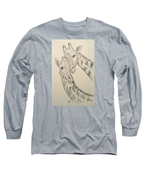 Long Sleeve T-Shirt featuring the drawing Motherly Knudge by Jennifer Hotai