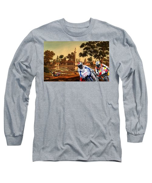 61f276aa Moto Gp, Motorcycle Race On An Old Painting Long Sleeve T-Shirt