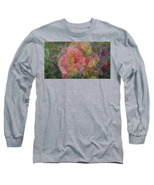 Mottled Pink Collage Pop Long Sleeve T-Shirt by Kathy Barney