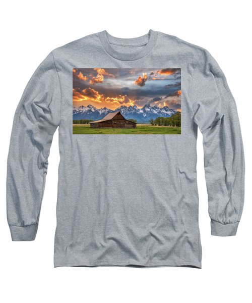 Moulton Barn Sunset Fire Long Sleeve T-Shirt by Darren White