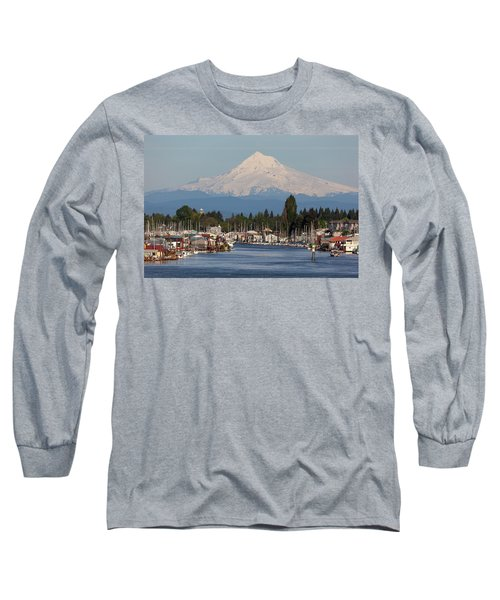 Mount Hood And Columbia River House Boats Long Sleeve T-Shirt