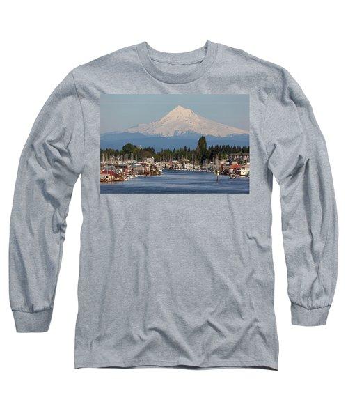 Mount Hood And Columbia River House Boats Long Sleeve T-Shirt