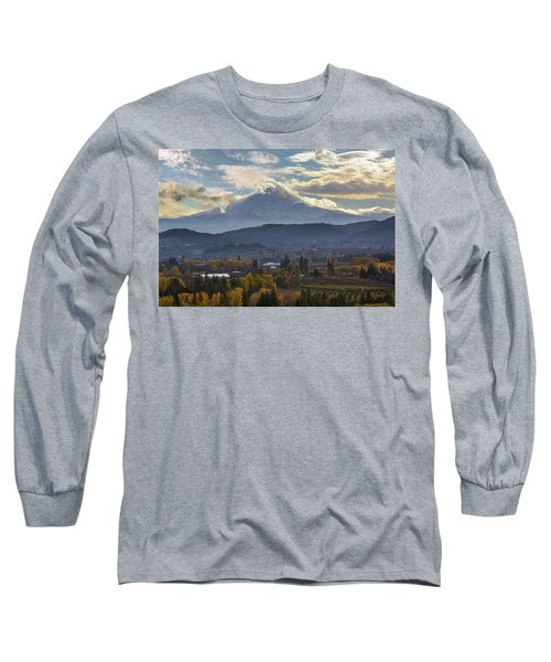Mount Hood Over Hood River Valley In Fall Long Sleeve T-Shirt