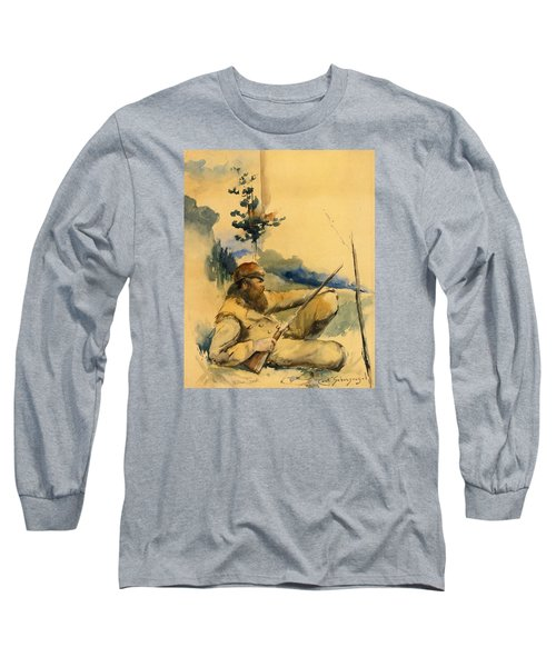 Long Sleeve T-Shirt featuring the drawing Mountain Man by Charles Schreyvogel