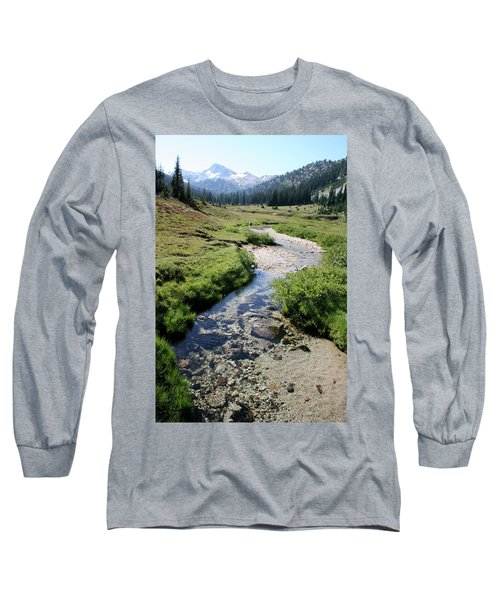 Mountain Meadow And Stream Long Sleeve T-Shirt by Quin Sweetman