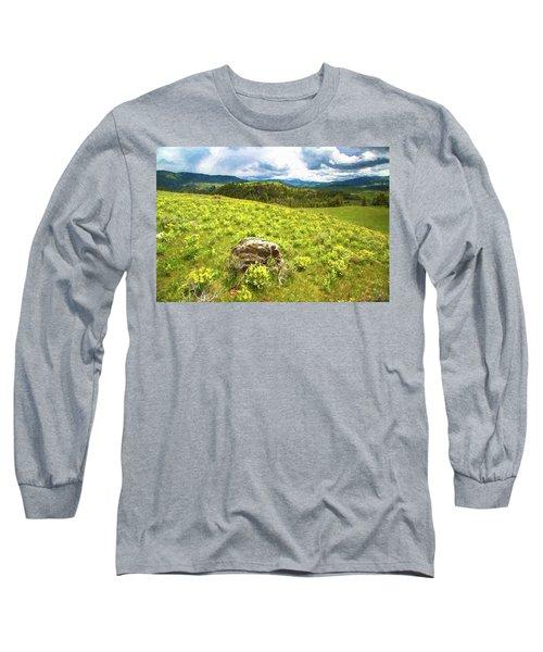 Mountain Meadow Impressionist Digital Art Long Sleeve T-Shirt