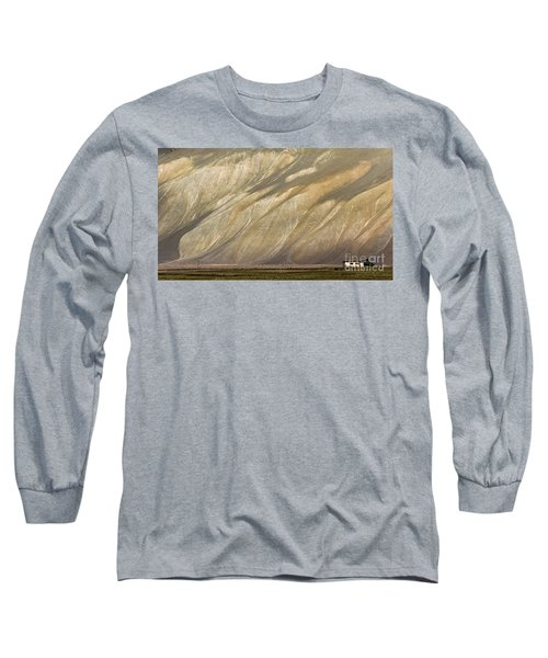 Long Sleeve T-Shirt featuring the photograph Mountain Patterns, Padum, 2006 by Hitendra SINKAR