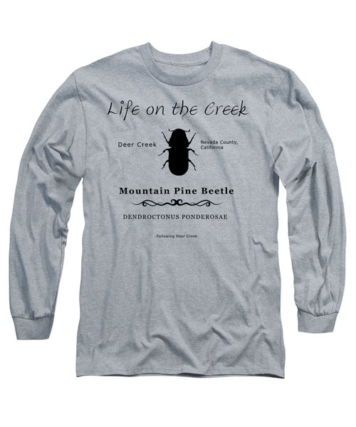 Mountain Pine Beetle Black On White Long Sleeve T-Shirt