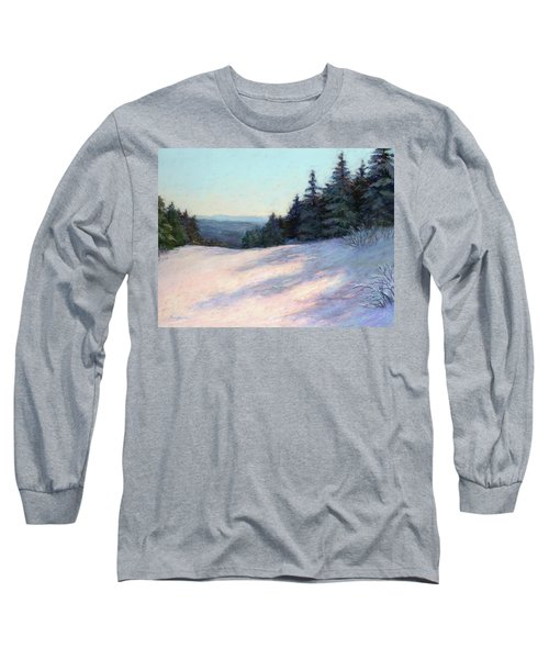 Long Sleeve T-Shirt featuring the painting Mountain Stillness by Vikki Bouffard