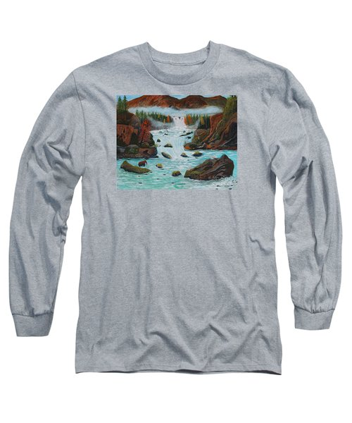 Long Sleeve T-Shirt featuring the painting Mountains High by Myrna Walsh