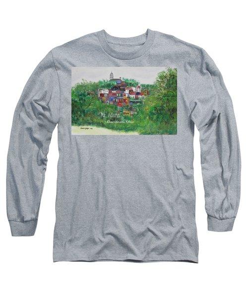 Mt Adams Cincinnati Ohio With Title Long Sleeve T-Shirt