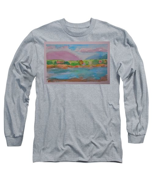Long Sleeve T-Shirt featuring the painting Mt Desert From Marlboro Beach by Francine Frank