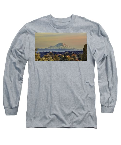 Mt Rainer Fall Color Rising Long Sleeve T-Shirt by James Heckt