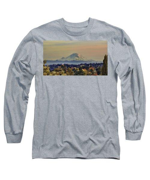 Mt Rainer Fall Color Rising Long Sleeve T-Shirt