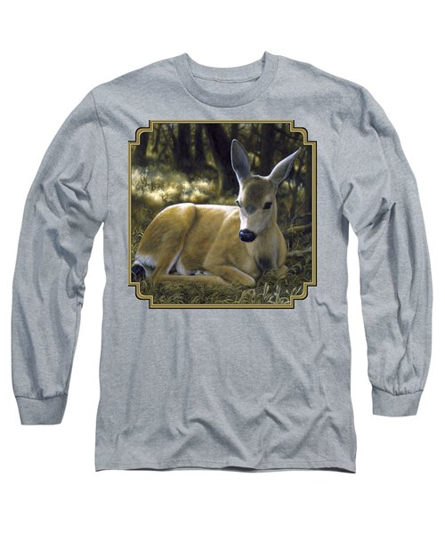 Mule Deer Fawn - A Quiet Place Long Sleeve T-Shirt by Crista Forest