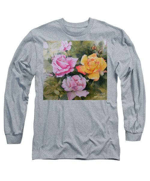 Long Sleeve T-Shirt featuring the painting Mum's Roses by Sandra Phryce-Jones