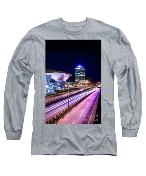 Long Sleeve T-Shirt featuring the pyrography Munich - Bmw City At Night by Hannes Cmarits
