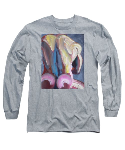Long Sleeve T-Shirt featuring the painting Muscular Back Upright by Shungaboy X