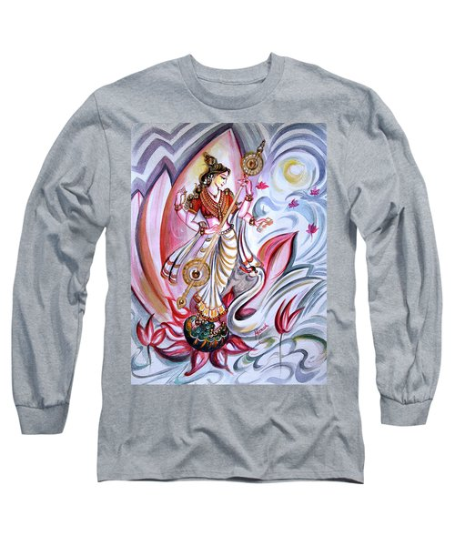 Musical Goddess Saraswati - Healing Art Long Sleeve T-Shirt