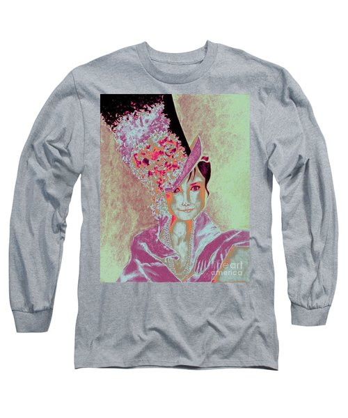 My Fair Audrey -- In Raspberry And Orange Long Sleeve T-Shirt