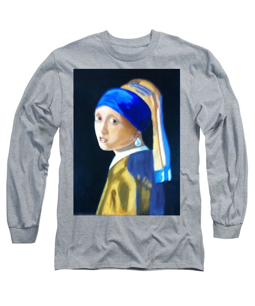 Long Sleeve T-Shirt featuring the painting My Version-girl With The Pearl Earring by Rod Jellison