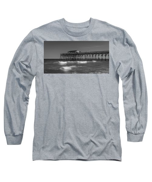 Myrtle Beach Pier Panorama In Black And White Long Sleeve T-Shirt