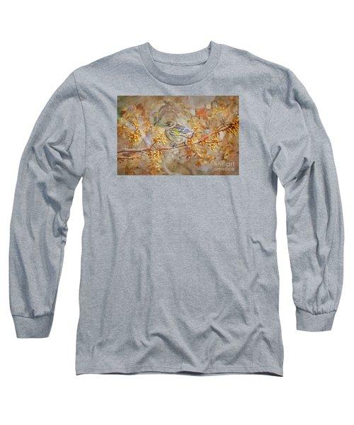 Myrtle Warbler Long Sleeve T-Shirt by Suzanne Handel