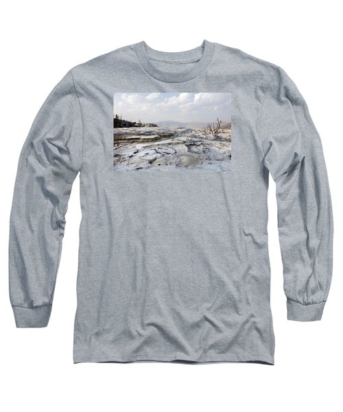 Mystic Scene From The Lower Terrace In Yellowstone National Park Long Sleeve T-Shirt