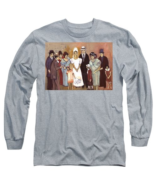 Naive Wedding Large Family White Bride Black Groom Red Women Girls Brown Men With Hats And Flowers Long Sleeve T-Shirt by Rachel Hershkovitz