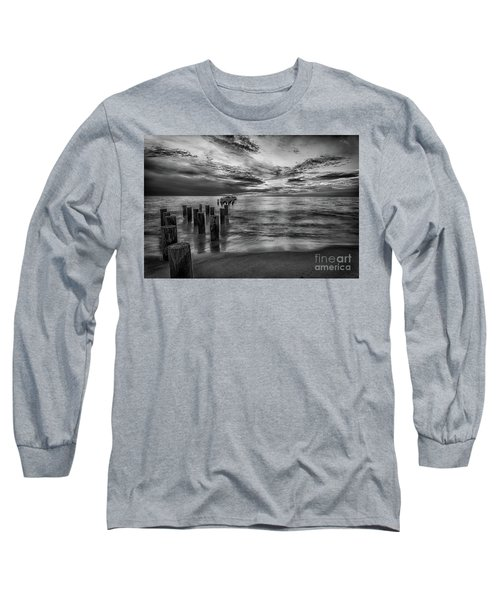 Naples Sunset In Black And White Long Sleeve T-Shirt