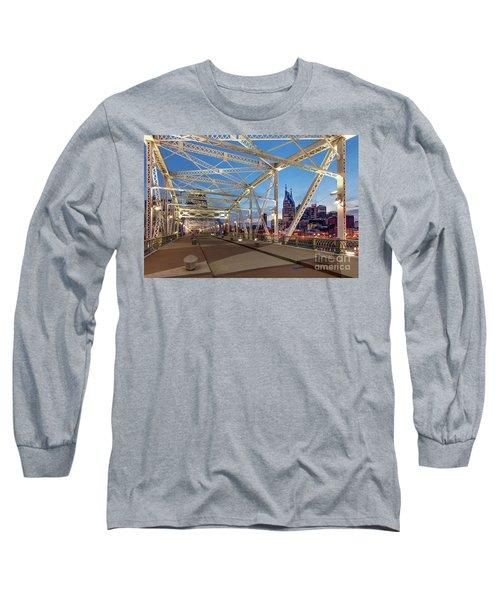 Long Sleeve T-Shirt featuring the photograph Nashville Bridge by Brian Jannsen