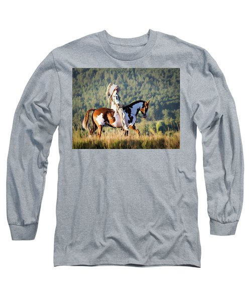 Native American On His Paint Horse Long Sleeve T-Shirt
