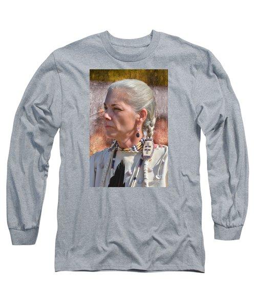 Native American Woman Long Sleeve T-Shirt by Kathy Baccari
