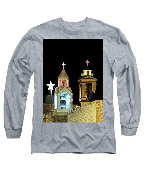 Long Sleeve T-Shirt featuring the photograph Nativity Church Lights by Munir Alawi