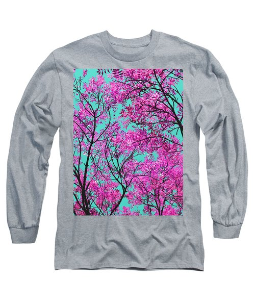 Natures Magic - Pink And Blue Long Sleeve T-Shirt by Rebecca Harman