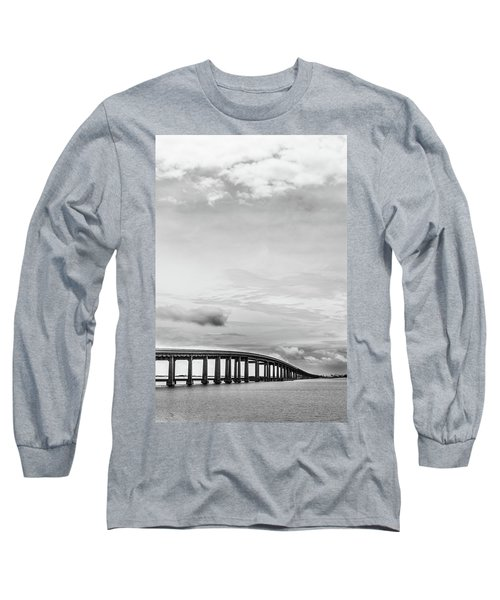 Long Sleeve T-Shirt featuring the photograph Navarre Bridge Monochrome by Shelby Young