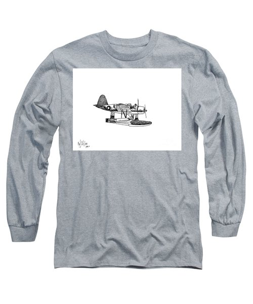 Navy Scout Observation Plane Pen And Ink No  Pi201 Long Sleeve T-Shirt by Kip DeVore