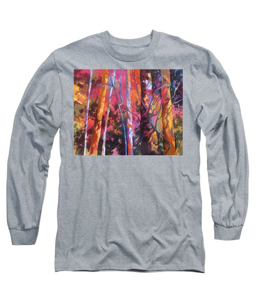 Long Sleeve T-Shirt featuring the painting Neon Damsels by Rae Andrews