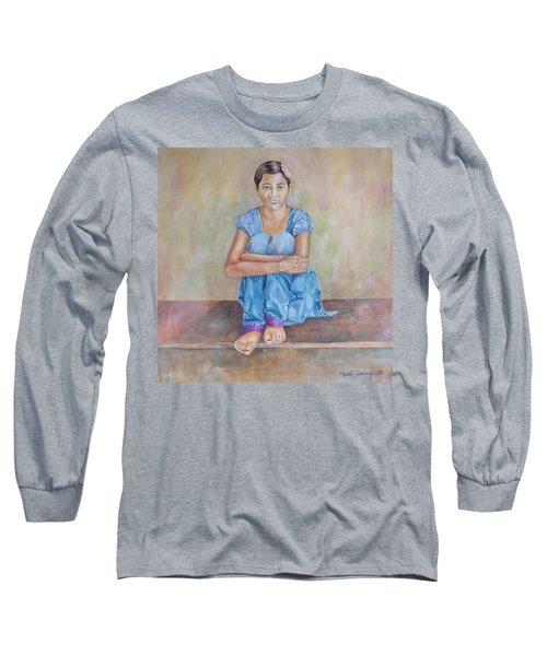 Nepal Girl 4 Long Sleeve T-Shirt by Marty Garland