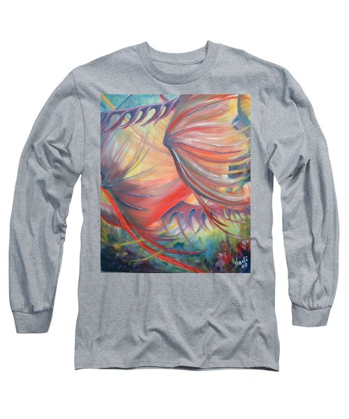Long Sleeve T-Shirt featuring the painting Neptune's View by Renate Nadi Wesley