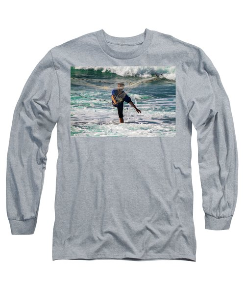 Long Sleeve T-Shirt featuring the photograph Net Fishing by Roger Mullenhour