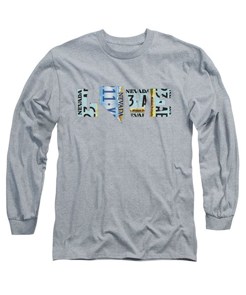 Nevada State Love License Plate Art Phrase Long Sleeve T-Shirt